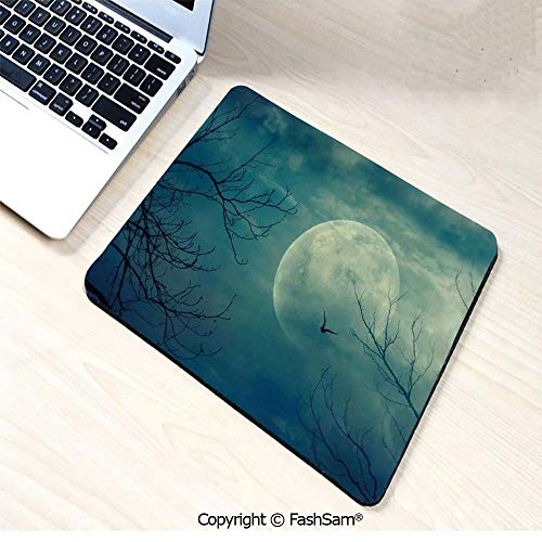 Desk Mat Mouse Pad Halloween with Full Moon in Sky and Dead Tree Branches Evil Haunted Forest for -