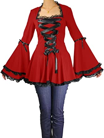 5d79669a386bca Amazon.com: (XS-28) Gothic Romance - Red Steampunk Gothic Bell ...