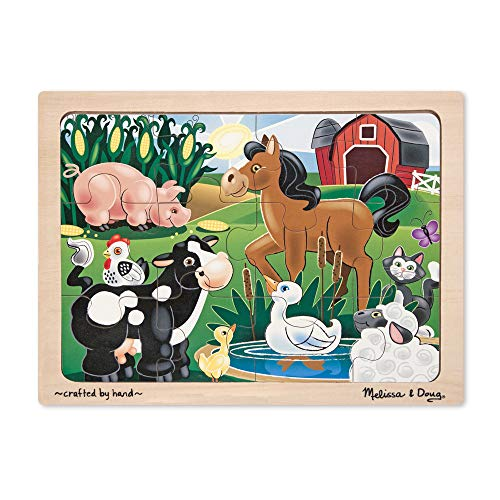 Melissa & Doug On the Farm Wooden Jigsaw Puzzle With Storage Tray (12 pcs) (12 Piece Wooden Puzzle)