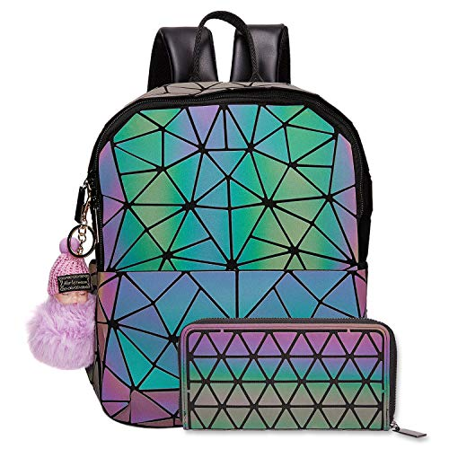 Backpack Purse Tote - Harlermoon Geometric handbag Luminous women bag Holographich Purses Flash Reflactive purse and handbag Tote for Women (Small backpack with wallet)