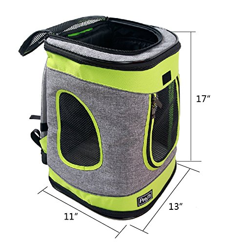 Petsfit-17x13x11-Inches-Comfort-Dogs-Carriers-Backpack-Grey-And-Green-TrimHold-Pets-Up-To-15-LBSGo-For-A-Walk-Hiking-And-Cycling