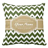 Olive Green Chevron With Beige Personalized Name Pillow Case