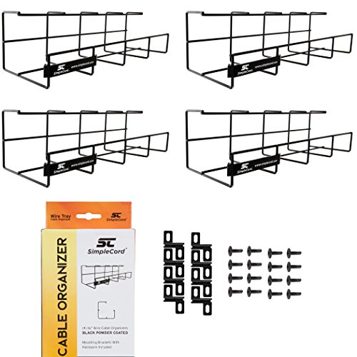Wire Tray Desk Cable Organizer - 64 Open Slot Raceway to Hold Cables, Cords, or Wires on Desks - Office Cable Management (2 Pack)