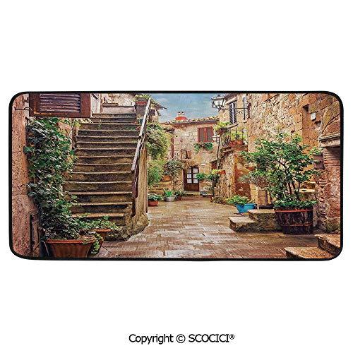 Print Door Mat, Indoor Floor Area Carpet Compatible Bedroom,Living Room,Children, Playroom, Bathroom,Tuscan Decor,View of an Old Mediterranean Street with Stone Rock,39