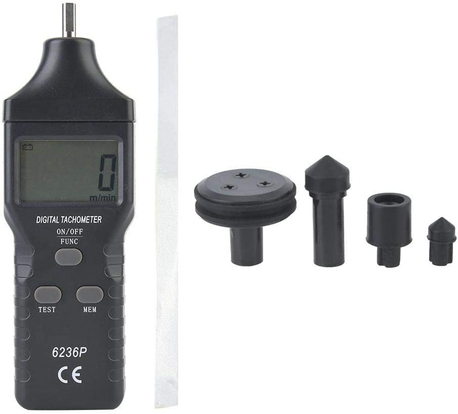 Battery Excluded YITENSEN VC6236P Contact//Non-Contact Tachometer Photoelectric Speedometer Digital Tachometer 2.5-99999 RPM