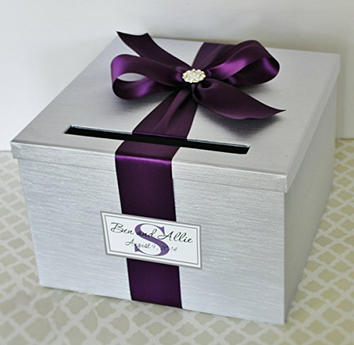 Wedding Card Holder Box Silver and Plum Purple Customizable]()