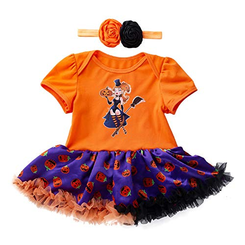 Newborn Jumpsuit 3M-18M Baby Short Sleeve Halloween Pumpkin Bow Party Romper Dress (Yellow,80) ()