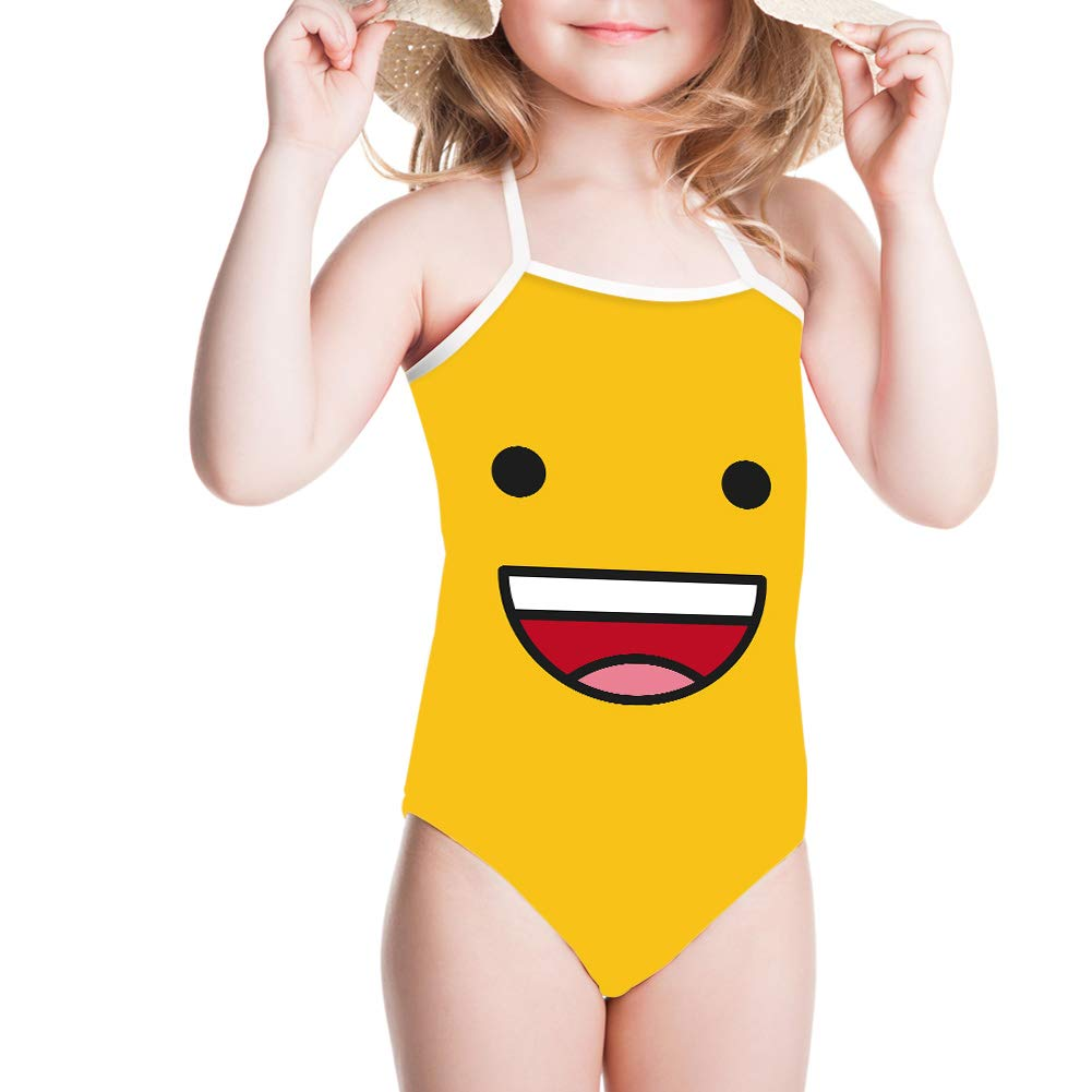 JoyLamoria Kids Halter Cute Swimsuits for Toddler Girls Emoji Pattern 1-pc Swimwear Bathing Suit 3T-6X