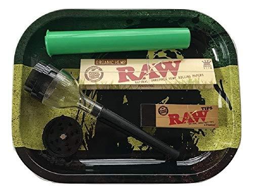 (RAW Bob Marley Rasta Tray Cone Roller Grinder Kit RAW Organic King Size Papers RAW Tips Doob Tube)