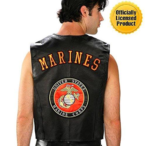 Mens Star Leather Vest (U.S.A. Leather Men's U.S. Marine Corps Leather Motorcycle Vest XX-Large Black)