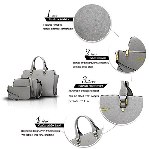 light Ladies Solid Color Fashion Shoulder Three Tisdaini Package Buns New Sets Female Diagonal Grey Handbag of SqWwa56g