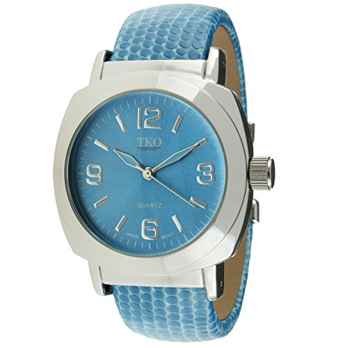 TKO Silver Leather Cuff Bracelet Sky Blue Lizard Print ()