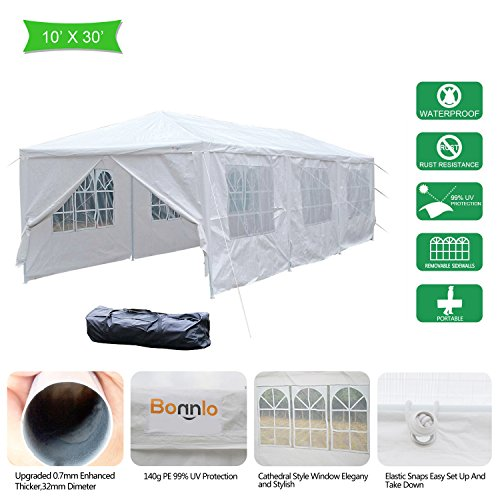VINGLI Bonnlo 10' x 30' Heavy Duty Canopy Wedding Party Tent with 8 Removable Sidewalls,Upgraded Steady Sunshade Winter Snow Shelter Outdoor Carport Event Gazebo Pavilion,w/ Carrying Bag (Wedding Canopy Party)