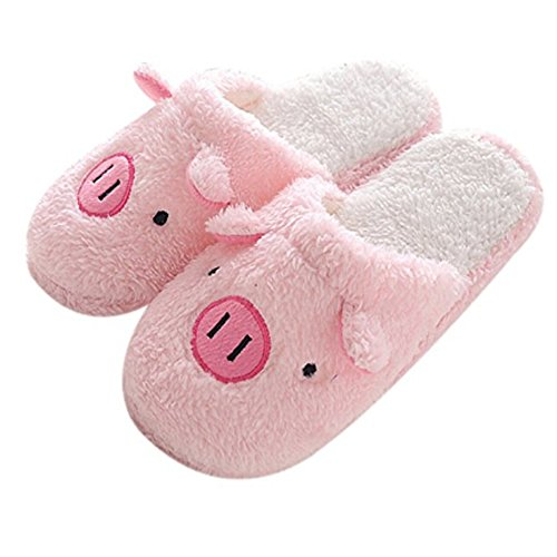 Home Pig (Womens Indoor Warm Fleece Slippers, Ladies Girls Cute Cartoon Pink Pig Winter Soft Cozy Thermal Non-slip Fuzzy Plush Mules Home Indoor Floor Slip-on Shoes Footwear Clog 36-37 M EU / 5-6 B(M) US)