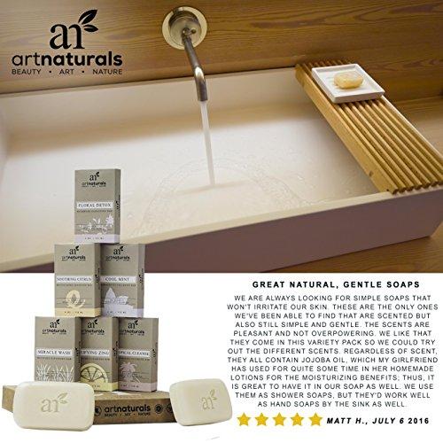 Art Naturals 6 Piece Soap Bar Set 4 oz. Each | 100% Natural & Infused with Jojoba Oil - Best for all Skin Types, Body & Face, Men & Women (Tea tree, Lavender, Eucalyptus, Lemon, Grapefruit & Orange)