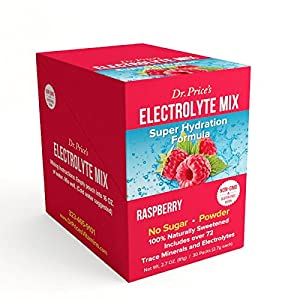 Electrolyte Mix Super Hydration Formula + Trace Minerals | NEW! Raspberry Flavor (30 powder packets) Sports Drink Mix | Dr. Price's Vitamins | No Sugar, Non-GMO, Gluten Free & Vegan