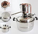 New Stainless/Copper Home 10L Litres Wine Making Moonshine Still Water Alcohol Distiller Brandy Grape Wine Vodka White Spirit Essential Oil Pure Dew Brew Kits With Water Pump Thermometer