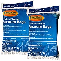 18 Panasonic U, U-3 & U-6 Upright Vacuum Cleaner Bags, MC-V145M, MC-115P, MC-V5000 thru MC-V5099, MC-V7300 thru MC-V7399, MC-V6200 thru MC-V6299