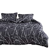 Wake In Cloud - Branches Duvet Cover Set Queen, Tree Pattern Printed on Charcoal Dark Gray Grey, Soft Microfiber Bedding with Zipper Closure (3pcs, Queen Size)