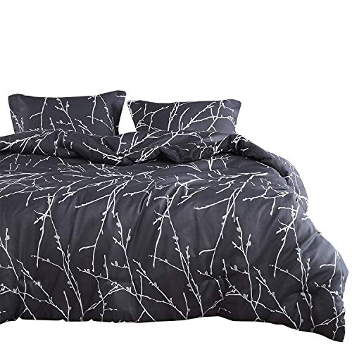 Wake In Cloud - Tree Comforter Set, Branches Pattern Printed on Charcoal Dark Gray Grey, Soft Microfiber Bedding (3pcs, Queen - Set Comforter Tree