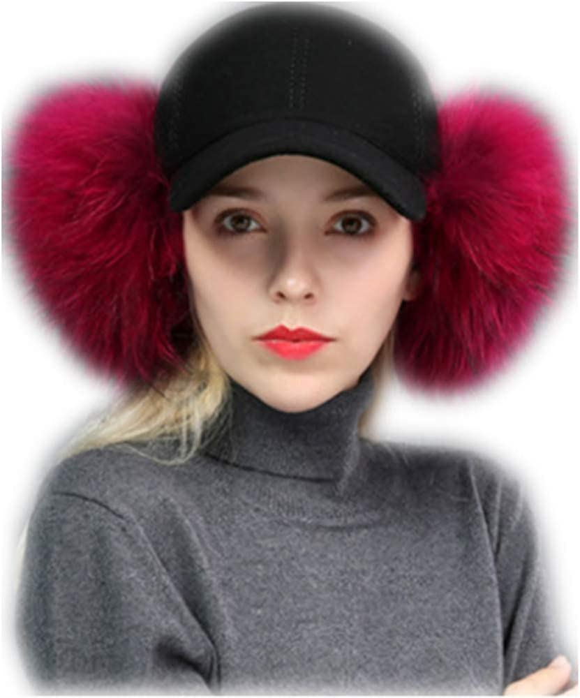 MH Bailment Hairy Baseball Caps with Real Raccon Fur Pom Pom Outdoor Adjustable Hats