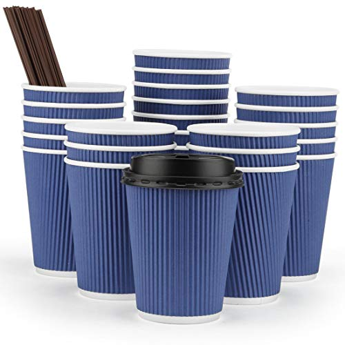 Eupako 12 oz Disposable Paper Coffee Cups with Lids and Straws 80 Set, Insulated Corrugated Sleeve Hot Drink Cups To Go, Perfect for Hot and Cold Drinks, Blue -