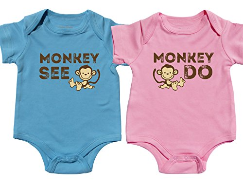 Nursery Decals and More Outfits for Twin Boy and Girls, Includes 2 Bodysuits, 3-6 Month Monkey See