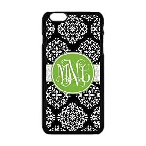 meilinF000Black Vintage European Pattern Damask Print Style & Green Cirle Monogram Personalized Custom Best Plastic Hard Case for iPhone5c (Only for inches) ,Black or White for ChoicemeilinF000