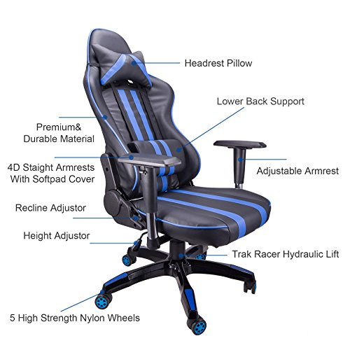 516V0yXAHXL - CO-Z-Ergonomic-Adjustable-High-Back-Headrest-Swivel-Pillow-Waist-Lumber-Support-PC-Gaming-Adult-Extra-Thick-Chair-Blue