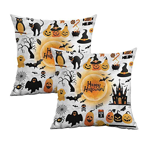 Khaki home Halloween Square Kids Pillowcase Happy Ghost Square Body Pillowcase Cushion Cases Pillowcases for Sofa Bedroom Car W 16