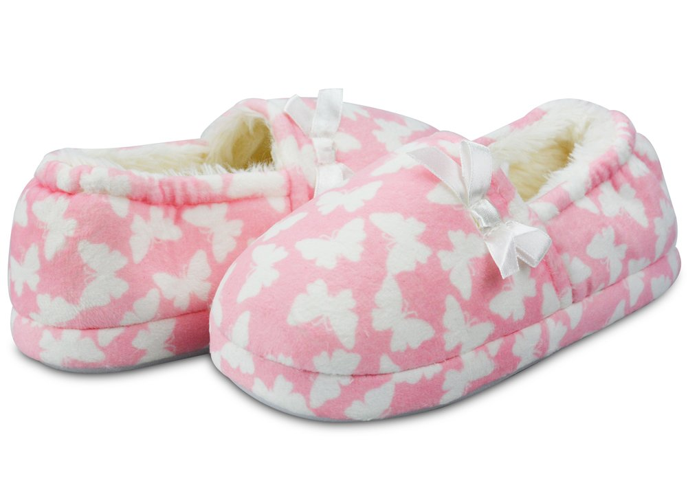 LA PLAGE Girl's Cute Soft Cotton Slippers with Beautiful Butterfly Size 12 US Little Kid Butterfly