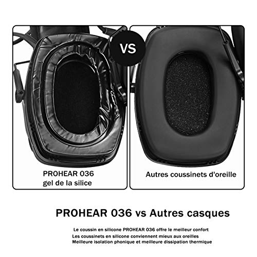 PROHEAR 036 [Mise à Niveau] Casque Anti Bruit de Tir Electronique Silicone Coussinets d'oreille Remplaçable,SNR 28dB… 3