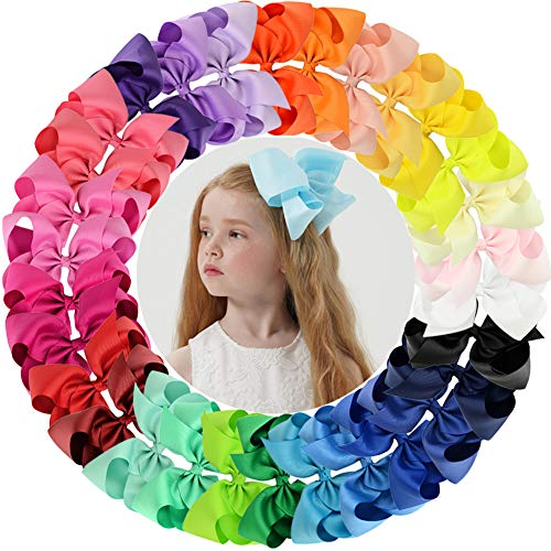 30pcs Big 6″ Hair Bows Clips Solid Color Grosgrain Ribbon Larger Hair Bows Alligator Clips Hair Accessories for Baby Girls Infants Toddlers Kids Teens (30Colors/30Pcs)