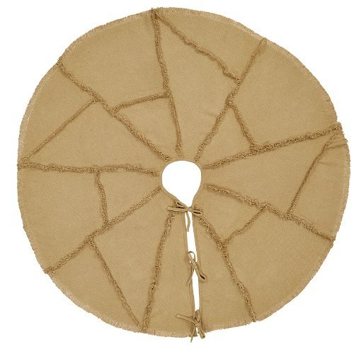 VHC Brands Christmas Holiday Decor - Burlap Natural Tan Reverse Seam Tree Skirt by VHC Brands