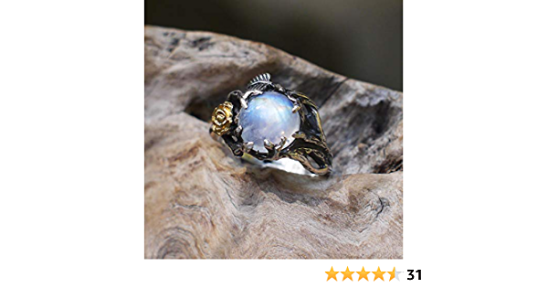 - 10x12mm Everyday engagement joy SALE Rainbow Moonstone Ring Fancy Curly band blue feminine solid sterling silver- Ready to mail Size 7
