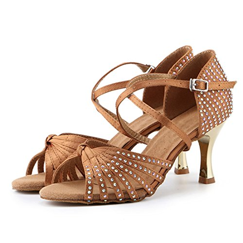 5cm Women's Crystals Knot Dance 7 Standard Fashion Shoes Satin Sandals Miyoopark Heel Latin Evening Beige OId5UwOq