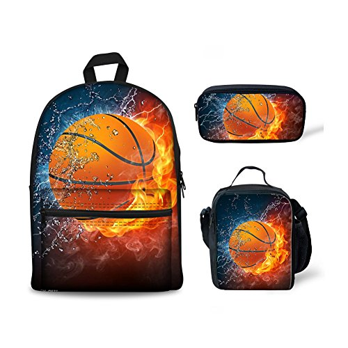 FOR U DESIGNS Cool School Backpack for Boys Fire Basketball Backpack Set 3 Pieces with Lunchbox Pencilcase -