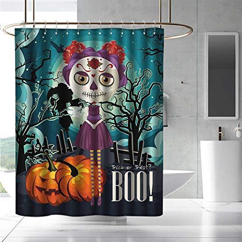 EwaskyOnline Shower stall Curtains Halloween Cartoon Girl with Sugar Skull Makeup Retro Seasonal Artwork Swirled Trees Boo Bathroom Curtain Washable Polyester W55 x L86 Multicolor ()