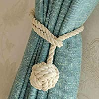 Do4U A Pair Hand Knitting Curtain Rope Clips Holder Holdbacks Tieback & holdbacks Curtain Tiebacks Rope Tiebacks Curtain Tie Rope Single Ball