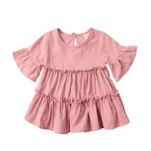 Baby Girl Dress / Skirt, Toddler Lotus Leaf Short Sleeve Cotton Dress 2017 New (Coat Flower Corduroy)