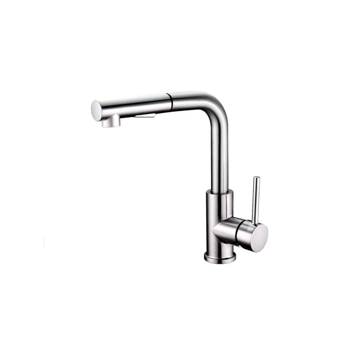 QIANZICAIDIANJIA Faucet, Single Handle Stainless Steel Kitchen Faucet With 3-Function Pull Down Sprayer, High Arc Pull Out Spray Head Kitchen Sink Faucet stainless steel faucet by QIANZICAIDIANJIA