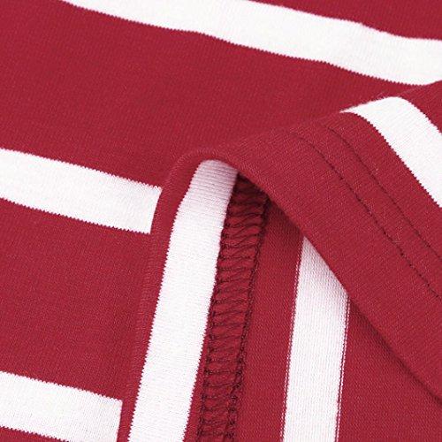 Courtes d't Summer Guesspower Jupe Robe up Manches raye Femmes lastique de Casual pour Rouge soire r88w7qI