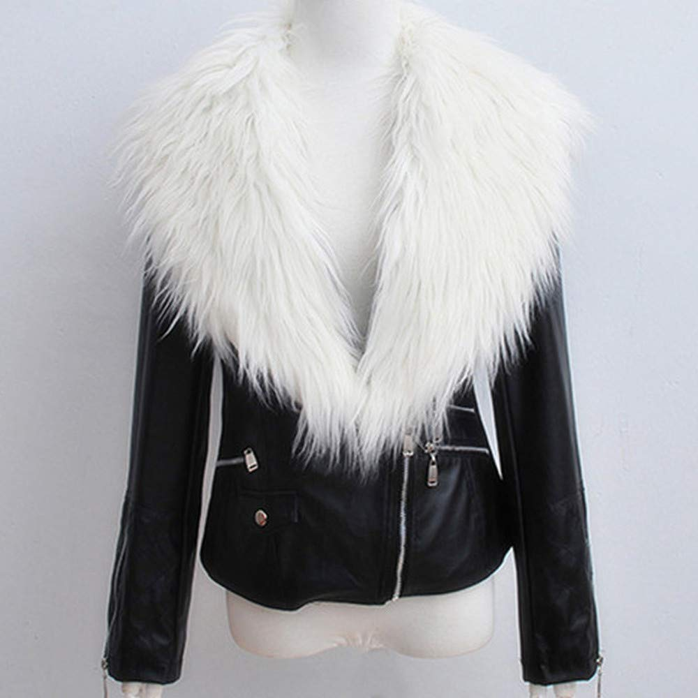 Londony /♥‿/♥ Leather Jackets for Women,Ladies Faux Fur Collar Suede Zipper Leather Moto Short Jacket