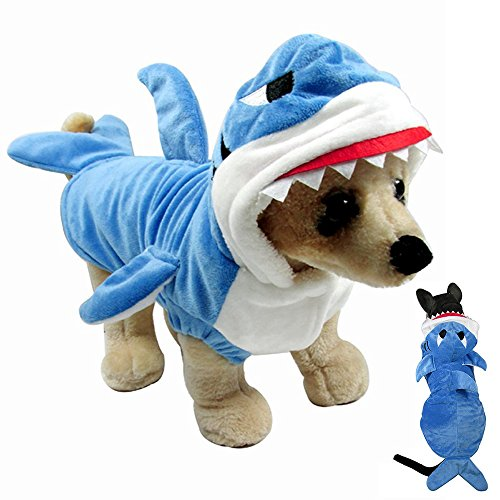 Pet Costume,Gimilife Pet Shark Costume Outfit, Halloween pet costumes Pet Pajamas Clothes Hoodie Coat For Dogs and Cats, Autumn and Winter (M) - Pet Cat Shark Costumes