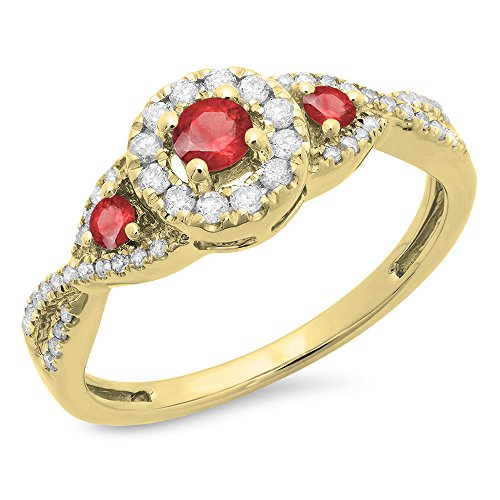 Dazzlingrock Collection 10K Ruby & White Diamond Ladies 3 Stone Swirl Halo Vintage Bridal Engagement Ring, Yellow Gold, Size 6.5 ()
