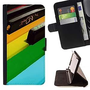 BullDog Case - FOR/Samsung Galaxy Note 3 III / - / piano keys colorful art modern design music /- Monedero de cuero de la PU Llevar cubierta de la caja con el ID Credit Card Slots Flip funda de cuer