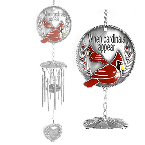 (BANBERRY DESIGNS Memorial Windchime - When Cardinals Appear Angels are Near - Red Cardinal - Wind Chime with a Remembrance Saying - Windchimes for)