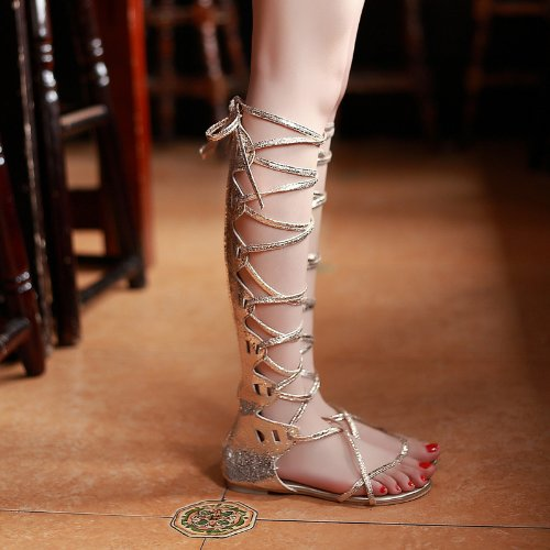 Women's Gold Gladiator Crystal Rhinestone Faux Leather Lace-Up Knee-High Flat Sandals - DeluxeAdultCostumes.com