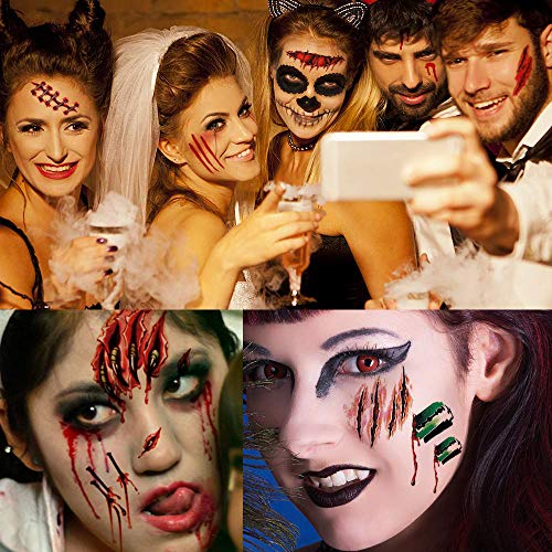 Scars Tattoos, Halloween Tattoos Zombie Scars, Halloween Zombie Makeup Kit, Fake Blood Body Face Scar Sticker, 3D Waterproof Temporary Terror Wound Blood Injury Scar for Halloween Makeup(5+5 Pack) ()