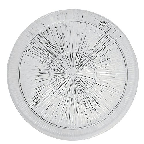 - Crystal Tray Round Diamond Pattern Heavyweight Plastic - 18